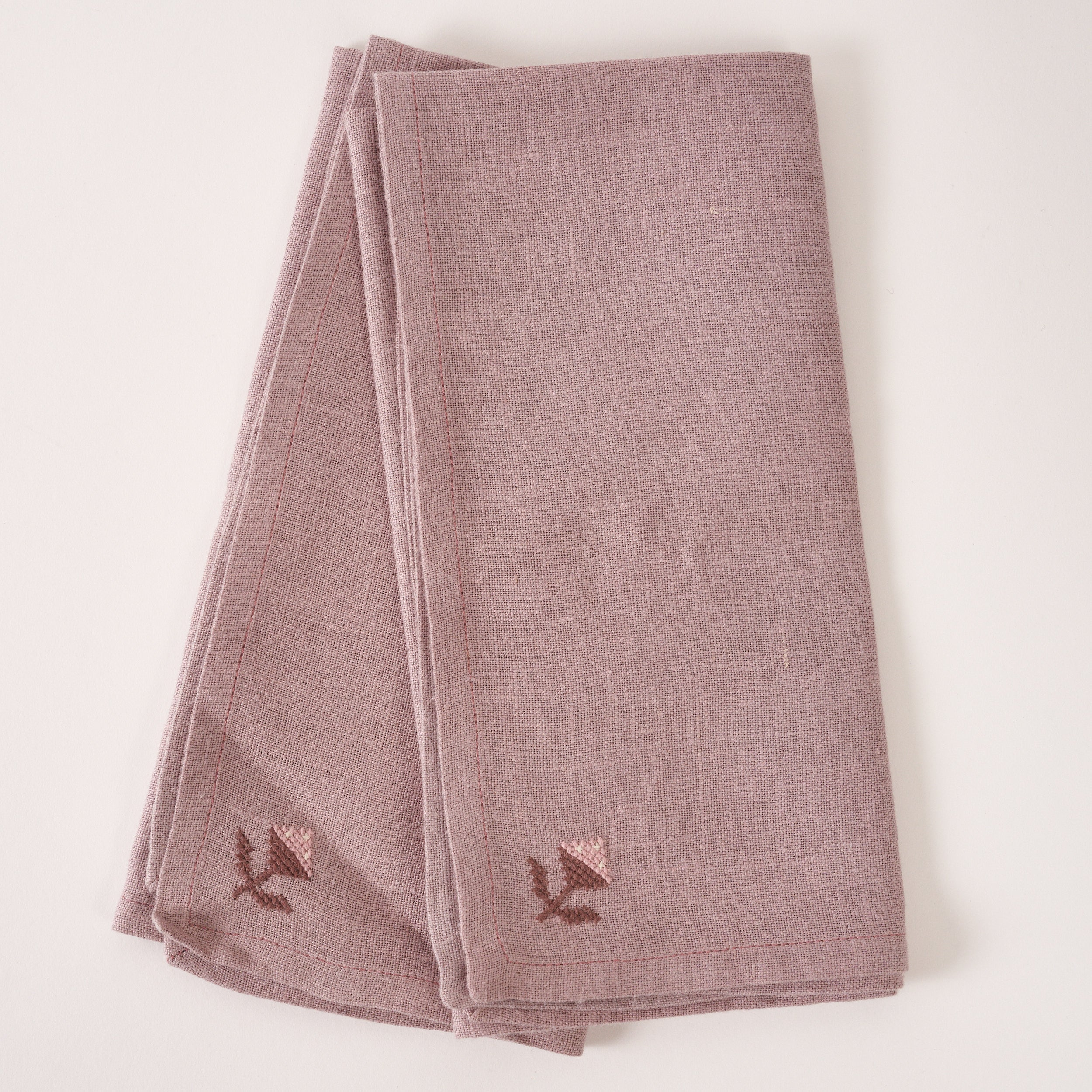 Rose Bud Napkin - Purple