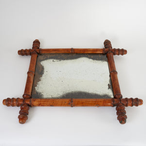 French Faux Bamboo Foxed Mirror - 46cm x 40cm