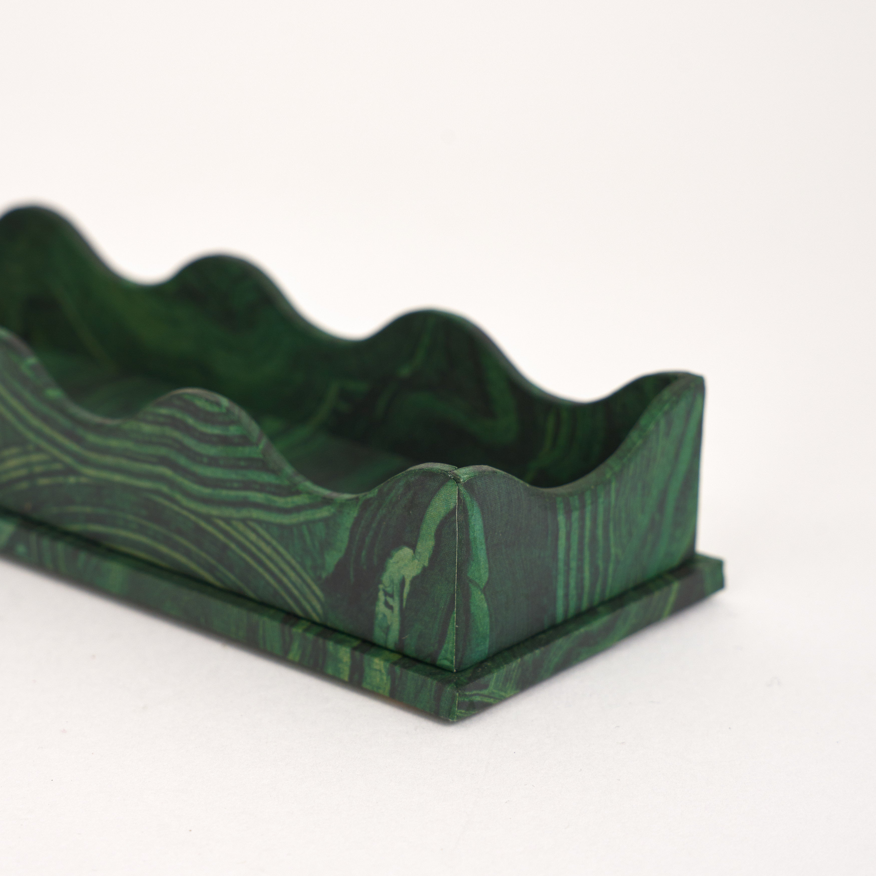 Scallop Edge Pencil Tray - Malachite