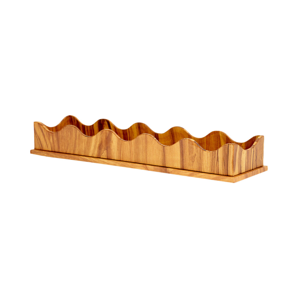 Scallop Edge Pencil Tray - Pitch Pine