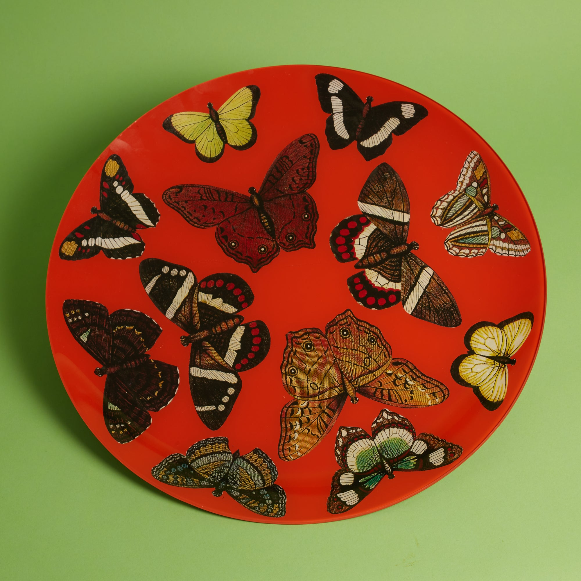 "18"" Round Butterfly Tray - Red"