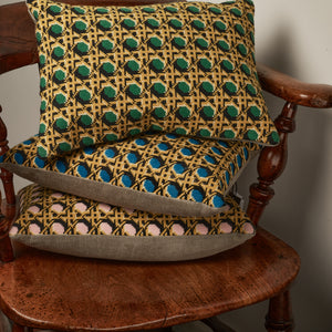 Regency Caning Cushion - Green