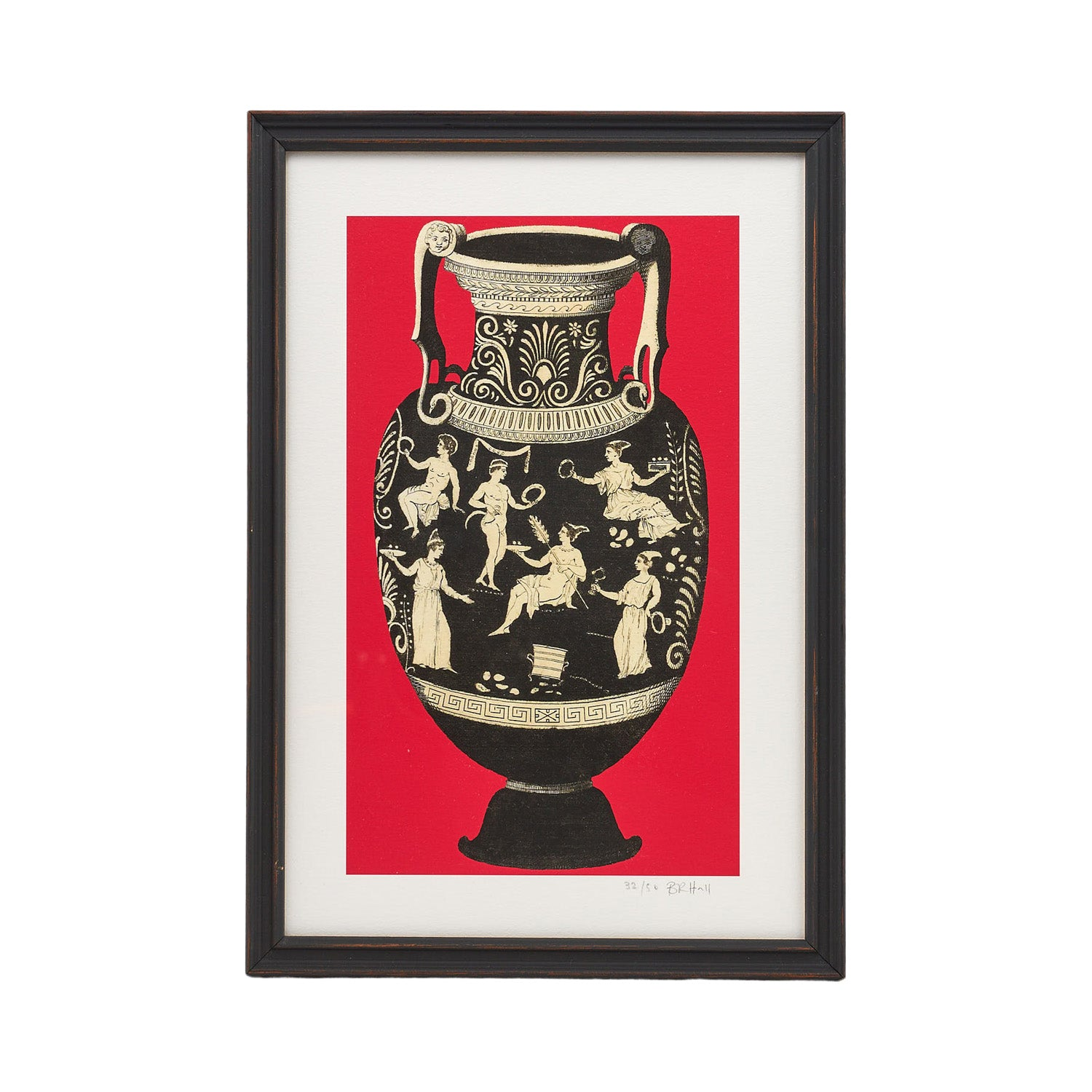 Framed Ancient Greek Vase Print - Red