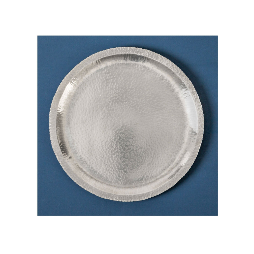 Hammer Beaten Pewter Brass Tray - 25cm