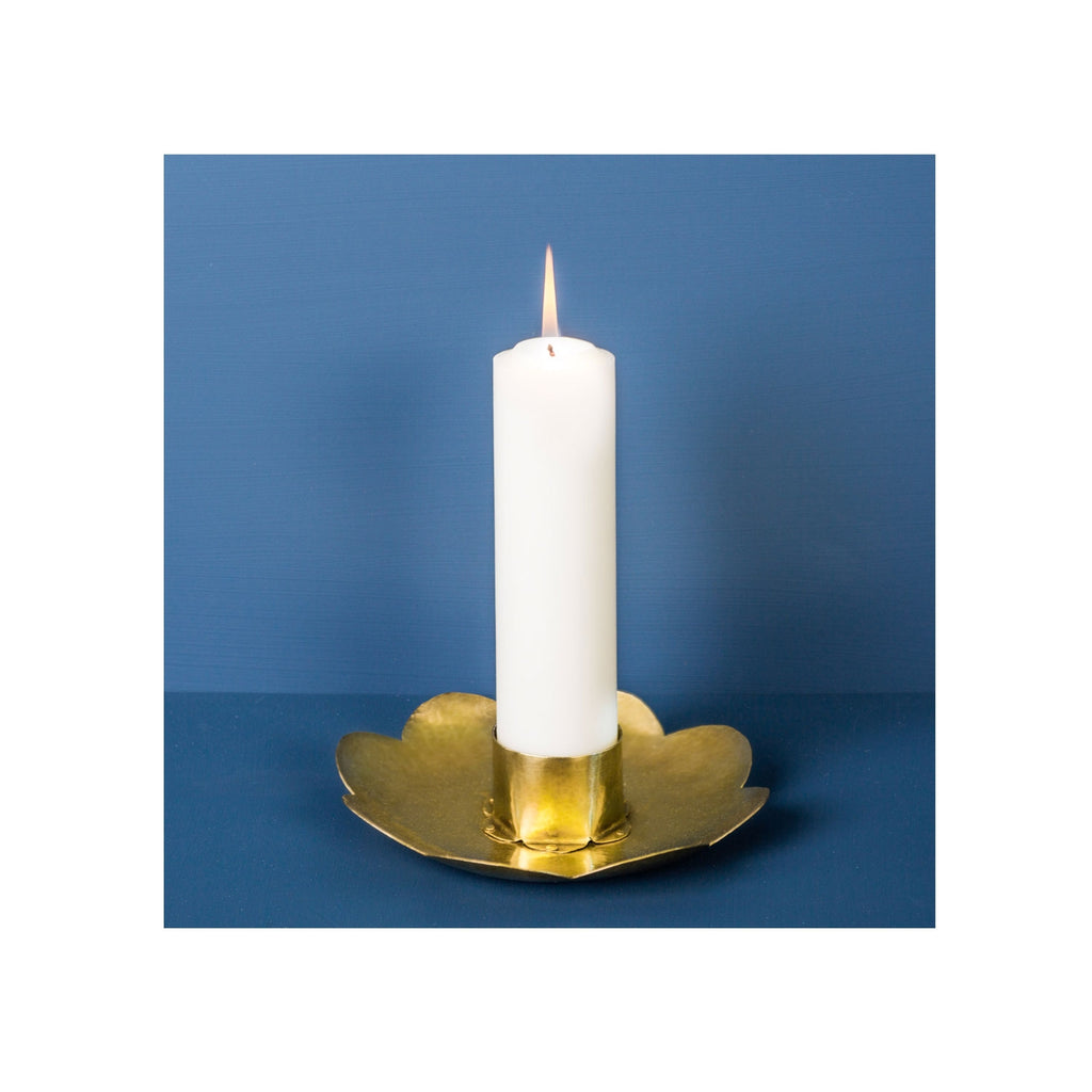 Hammer Beaten Brass Flower Candlestick