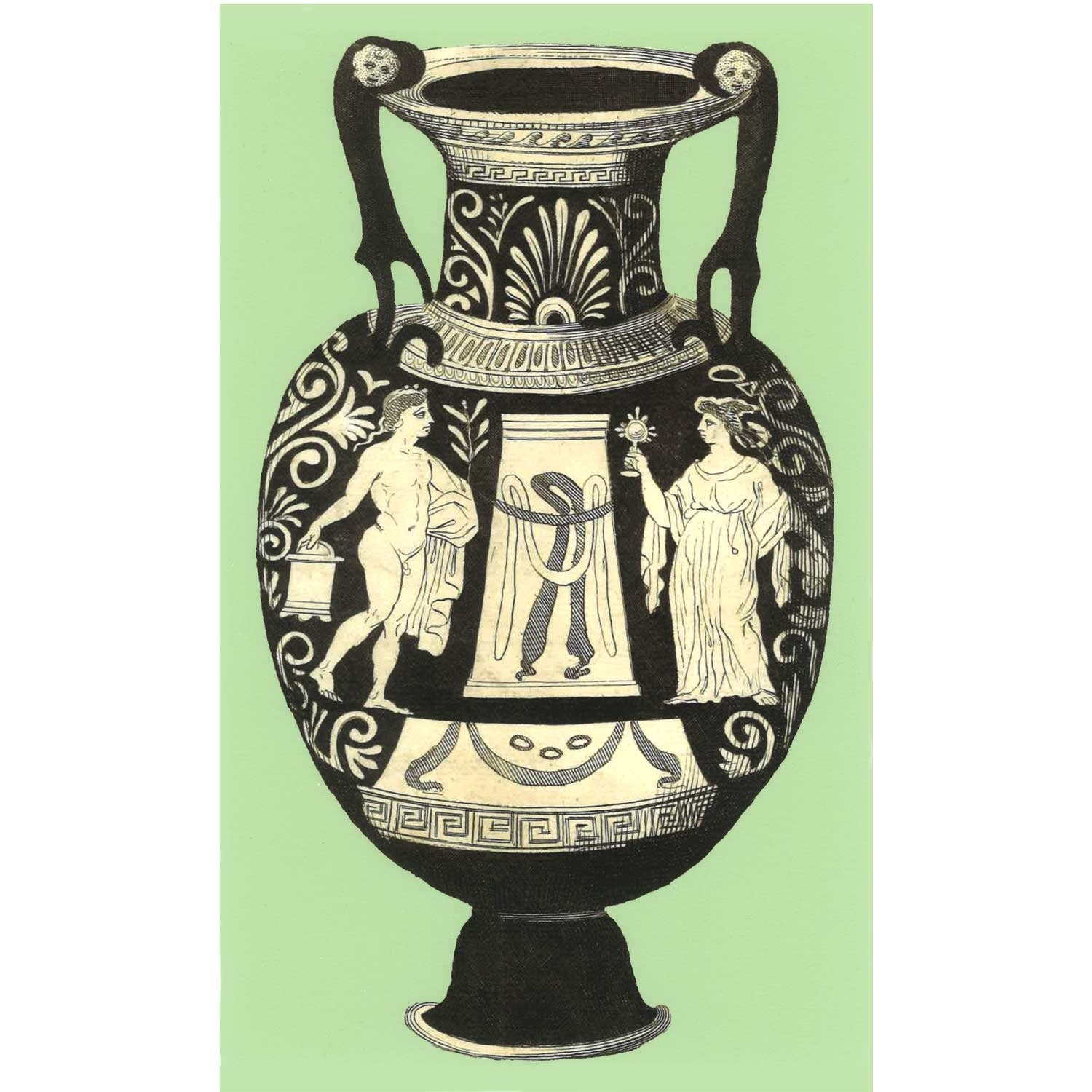Ancient Greek Vase Print - Turquoise