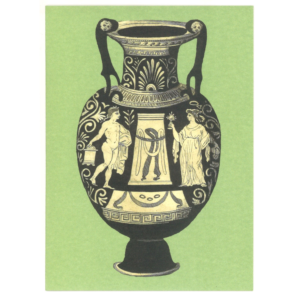 Greek Vase Greeting Card - Turquoise