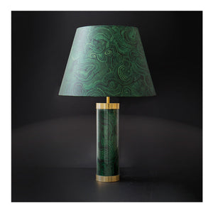 Faux Malachite Glass & Brass Lamp