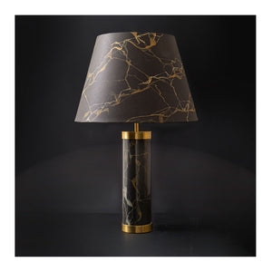 Faux Potoro Marble Glass & Brass Lamp