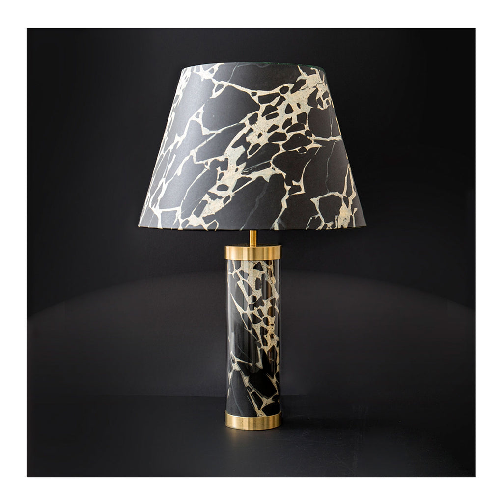 Faux French Antique Marble Glass & Brass Lamp