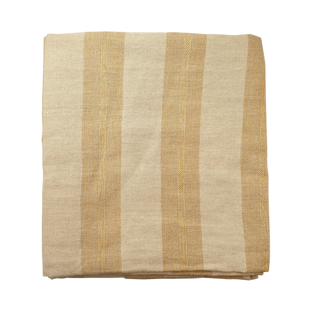 Wide Stripe Tablecloth - Caramel