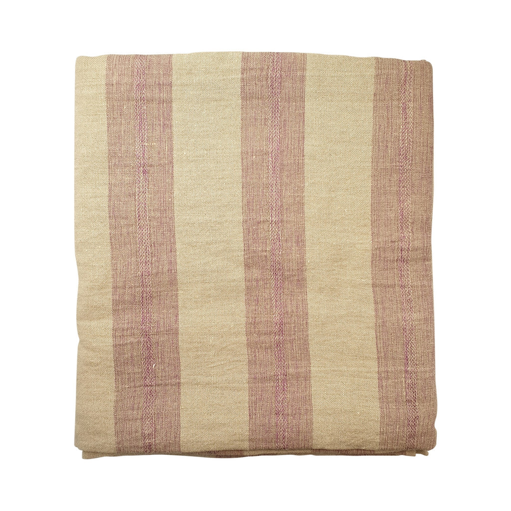 Wide Stripe Tablecloth - Antique Rose