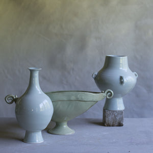 Celadon Footed Bulb Vase with Narrow Neck
