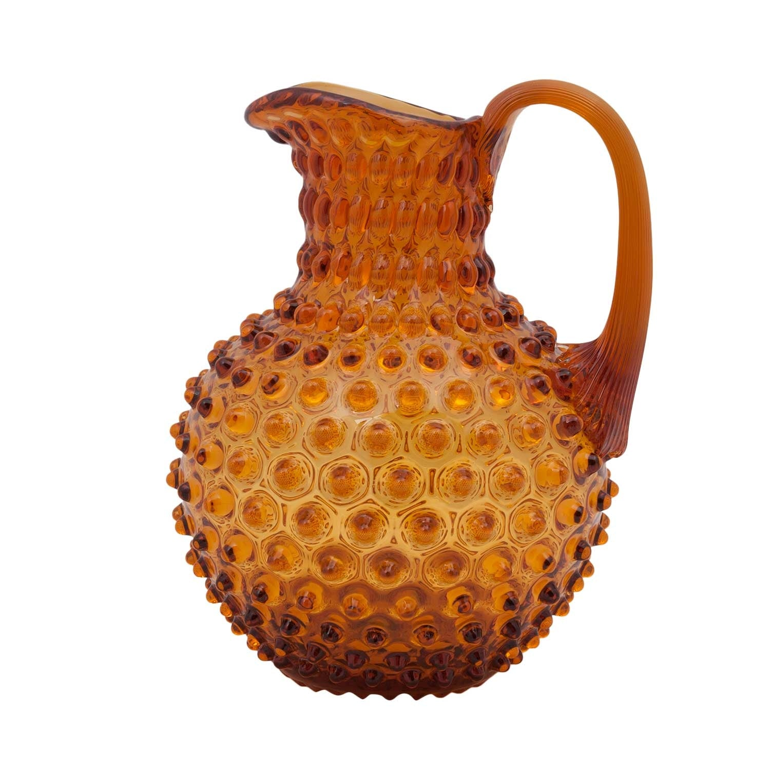 Hobnail Pitcher - Amber