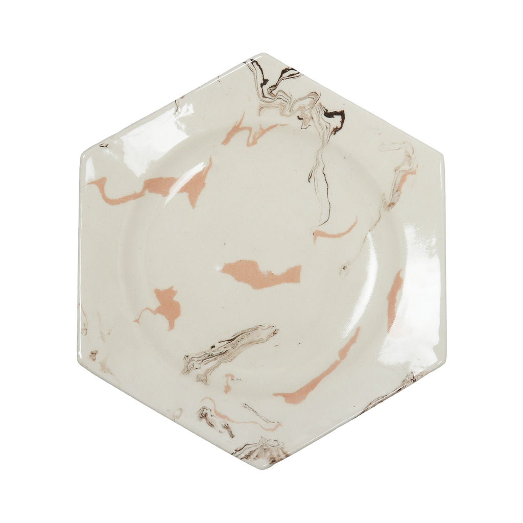 Cream Swirl Earthenware Hexagonal Plate