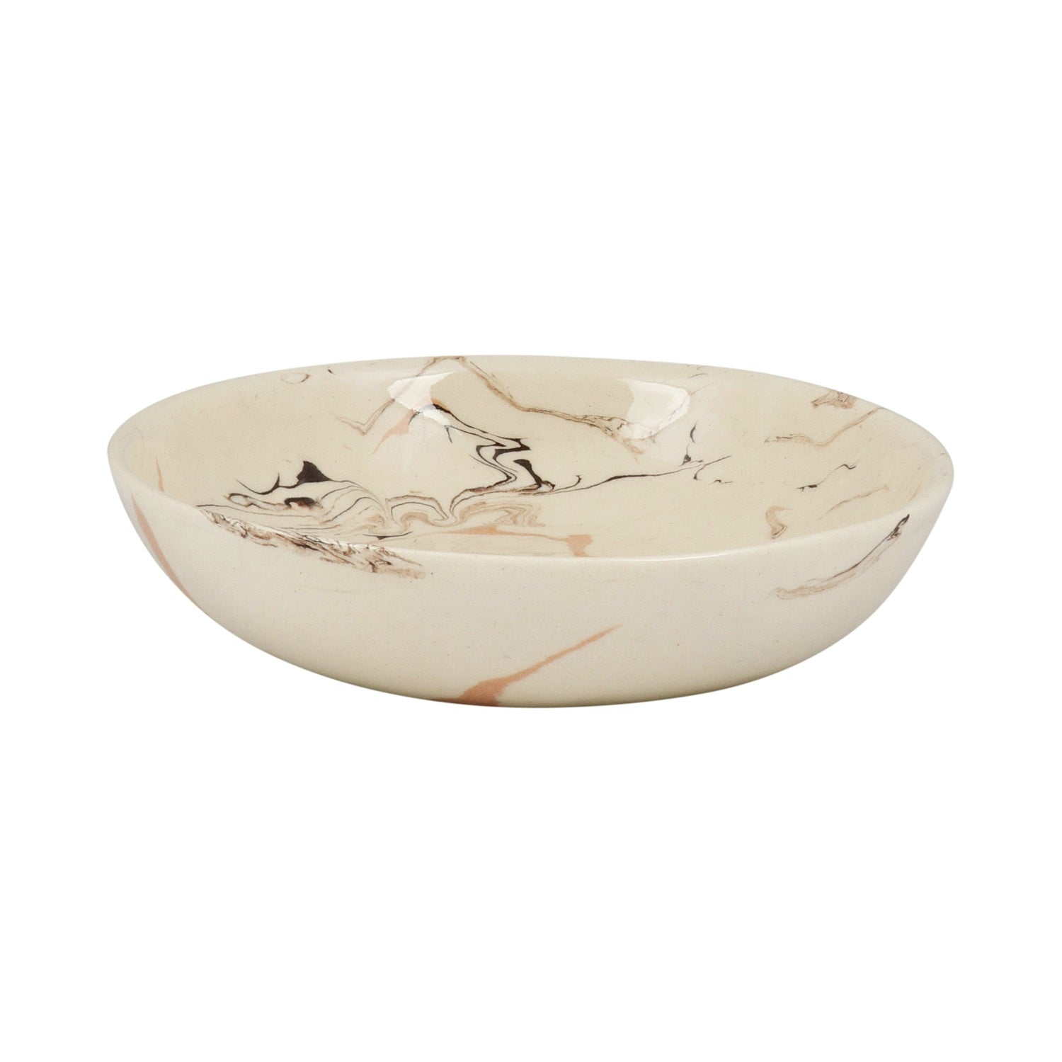 Cream Swirl Earthenware Bowl - 16cm