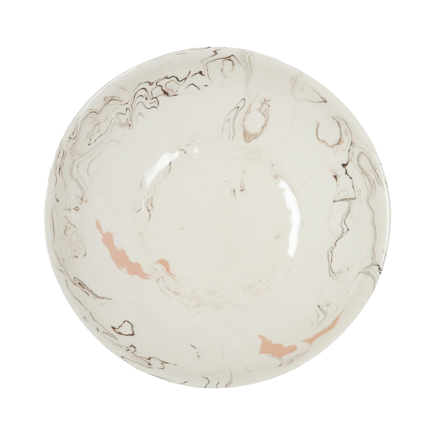 Cream Swirl Earthenware Bowl - 21cm