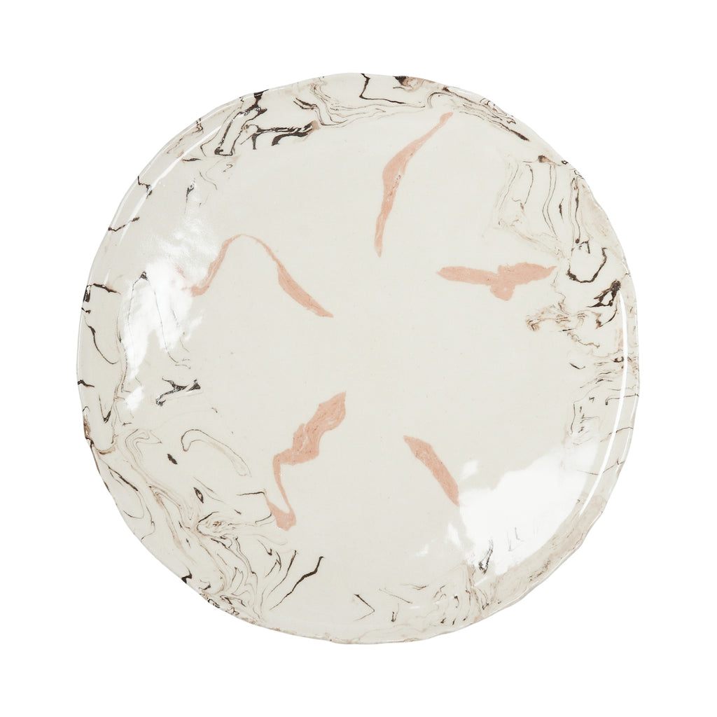 Cream Swirl Earthenware Dinner Plate - Irregular Edges
