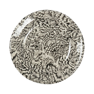 Black & Cream Swirl Earthenware Dessert Plate