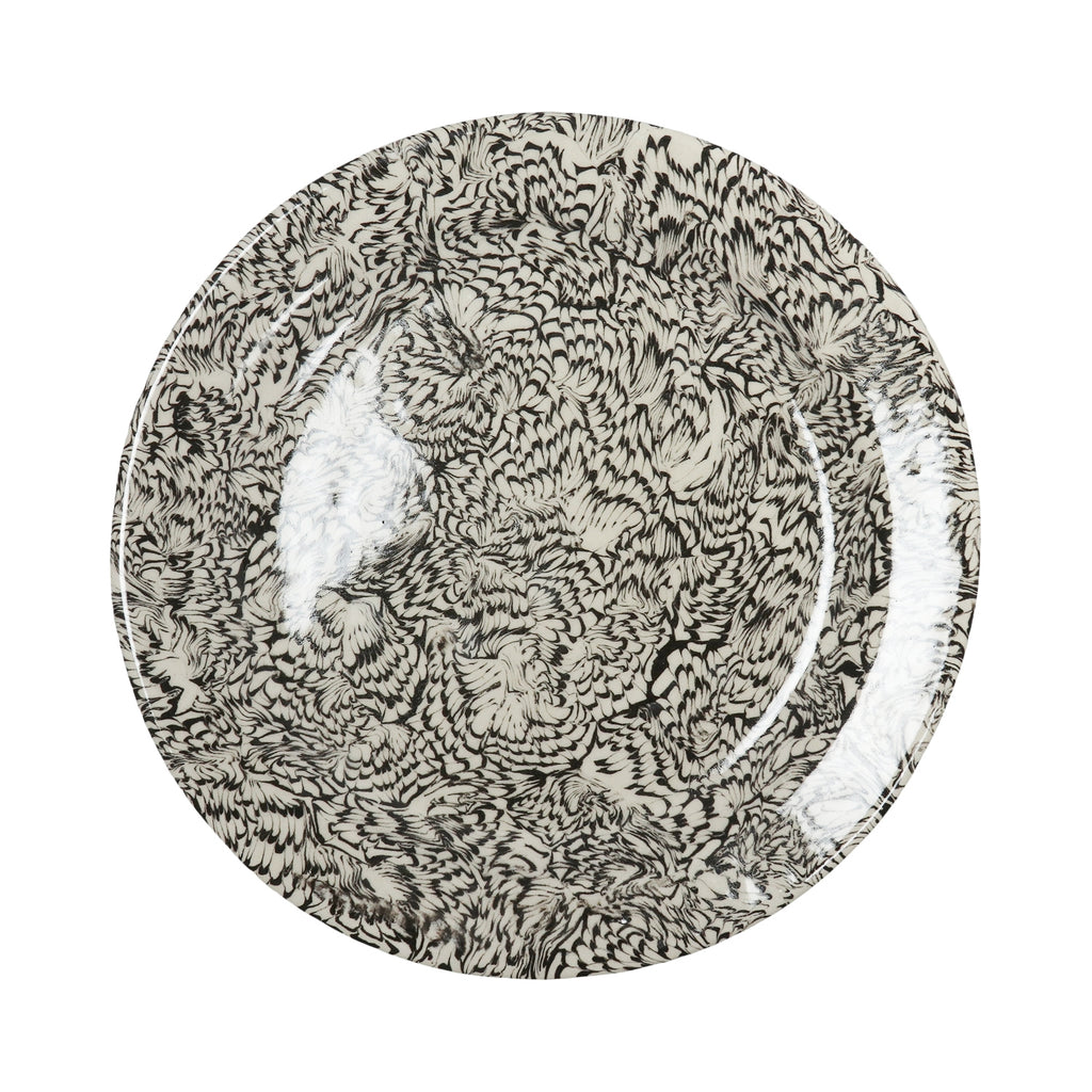 Black & Cream Swirl Earthenware - Round Dinner Plate
