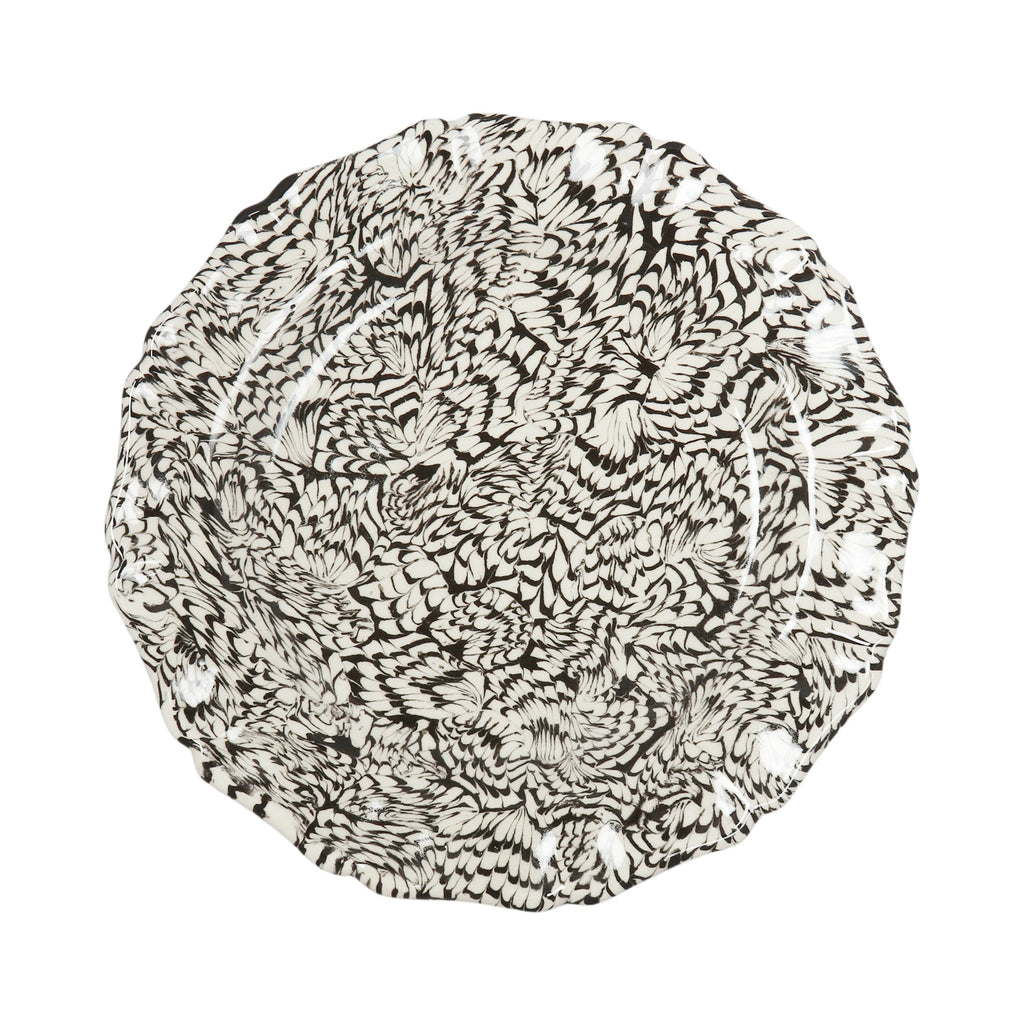 Black & Cream Swirl Earthenware - Scalloped Dinner Plate