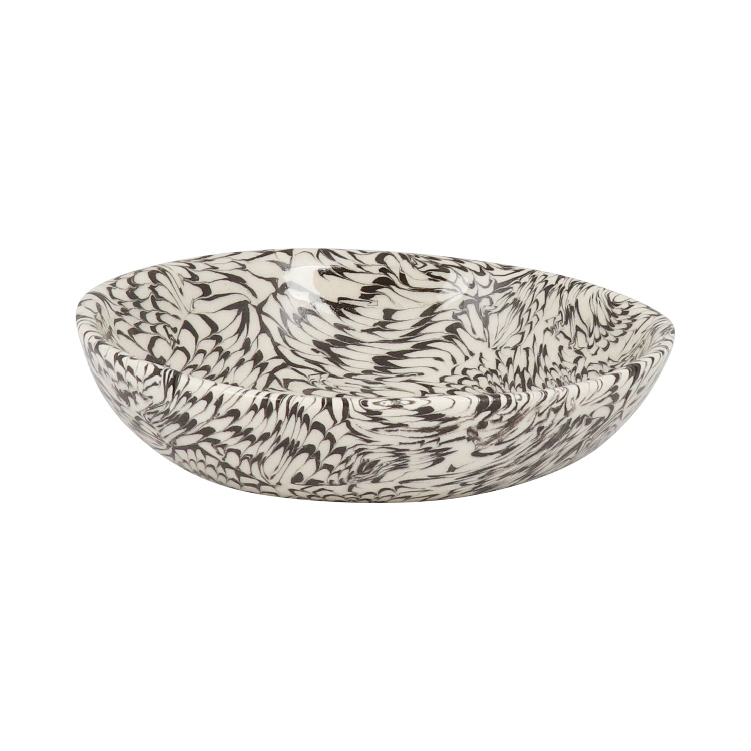 Black & Cream Swirl Earthenware - Condiment Bowl 13cm