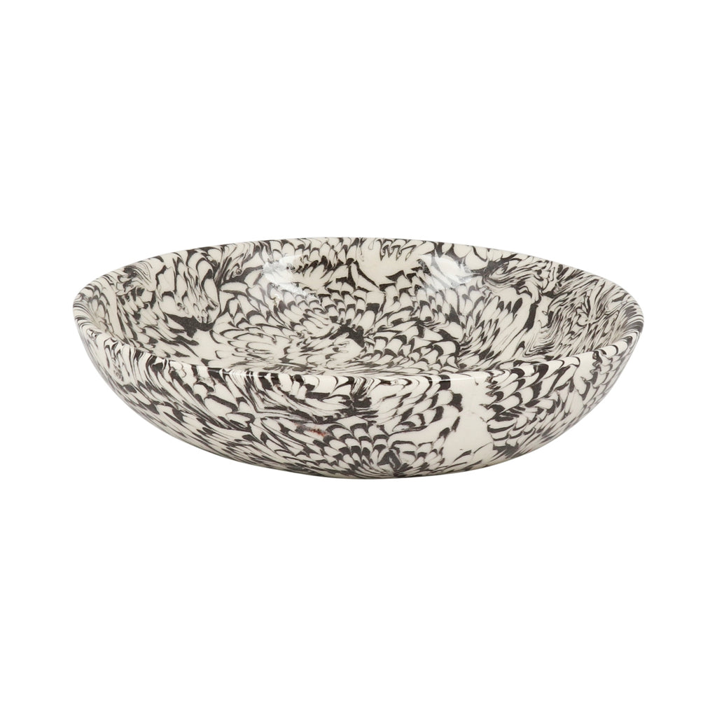 Black & Cream Swirl Earthenware Bowl - 16cm