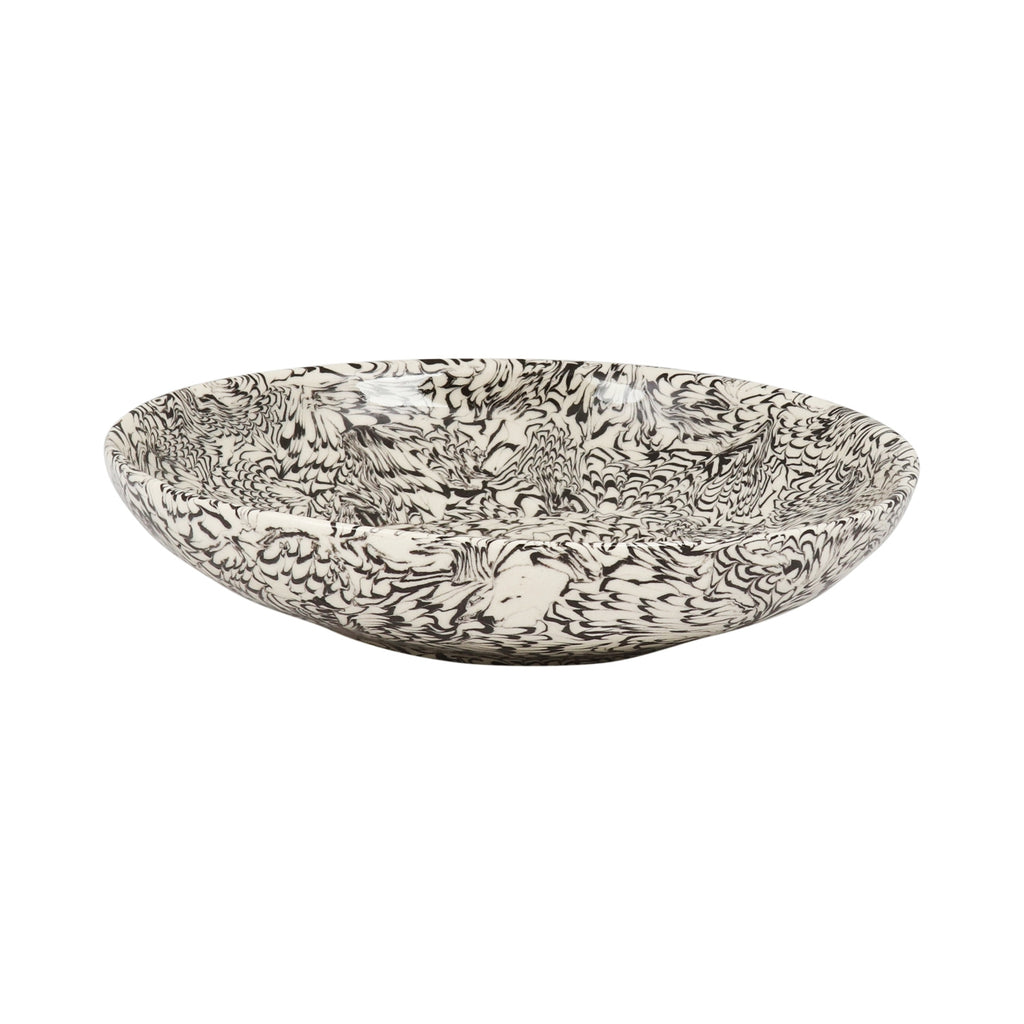 Black & Cream Swirl Earthenware Bowl - 21cm