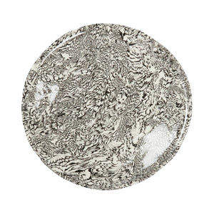 Black & Cream Swirl Earthenware- Dinner Plate - Irregular Edge
