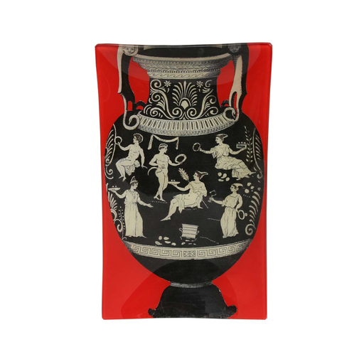 "6"" x 10"" Urn Decoupage Tray - Red"