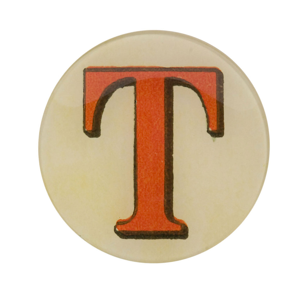 "5 3/4"" Picture Plate Red Letter T"