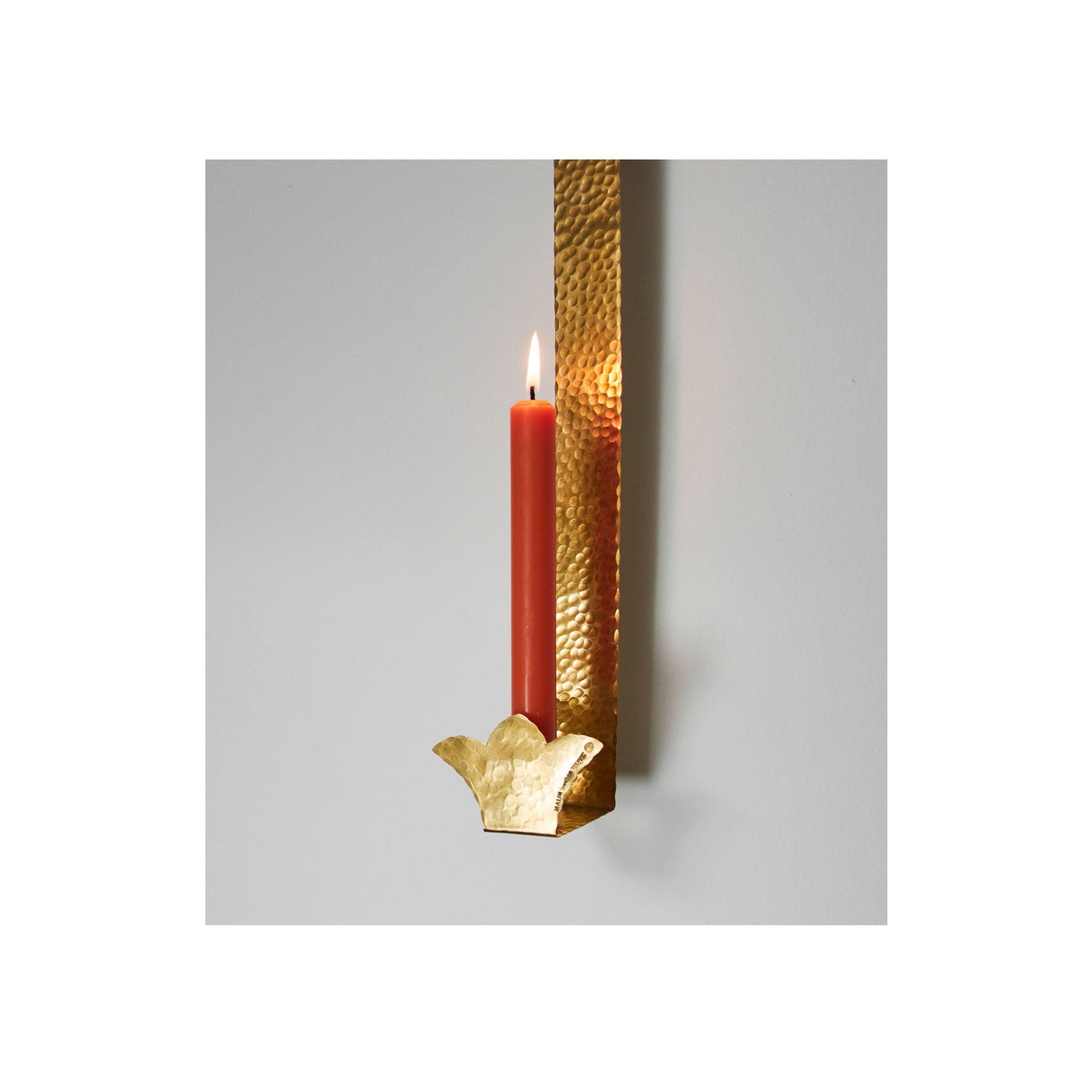 Hammer  Beaten Brass Door Sconce - 38cm