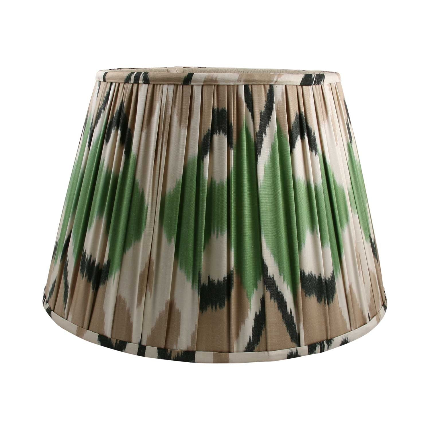 "18"" Green / Cream Silk Ikat Lampshade"