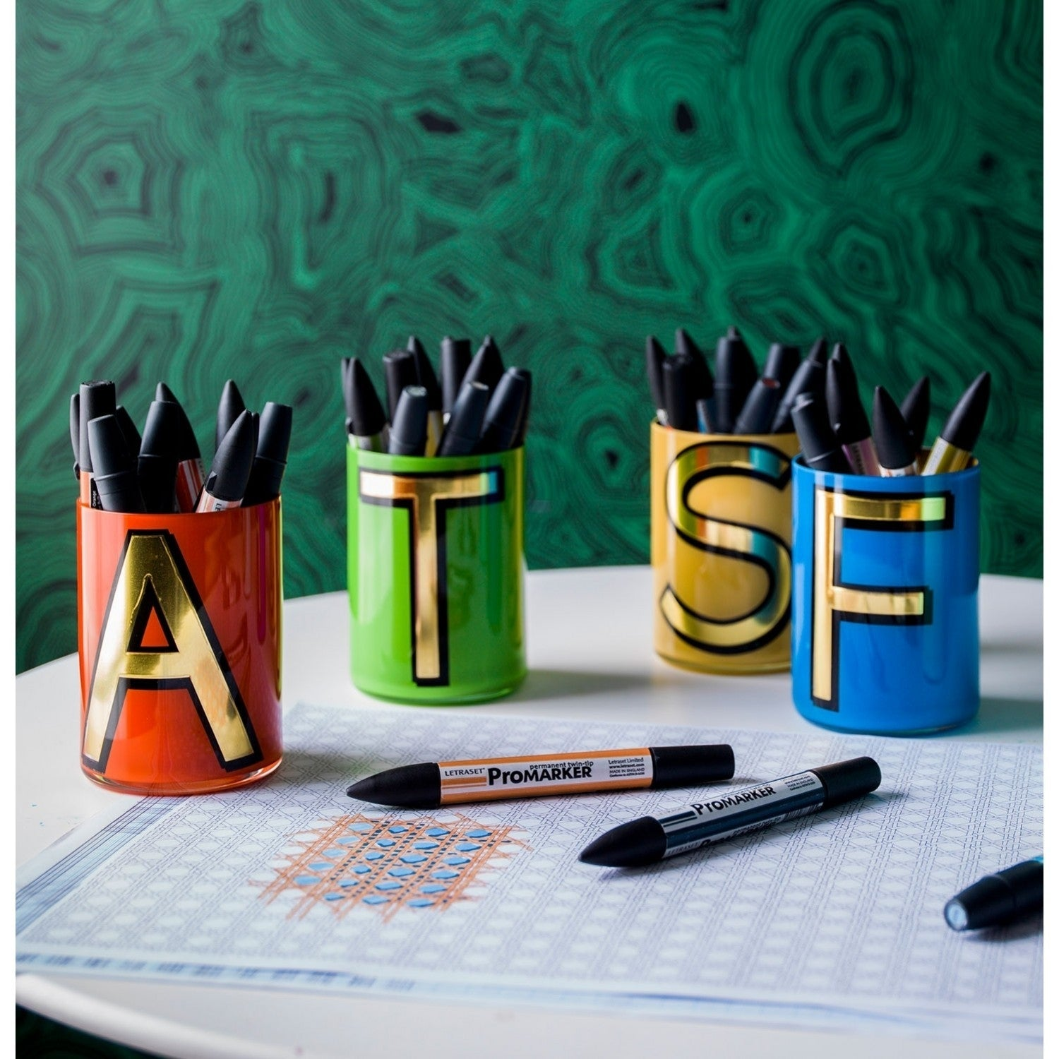 Alphabet Brush Pot - W