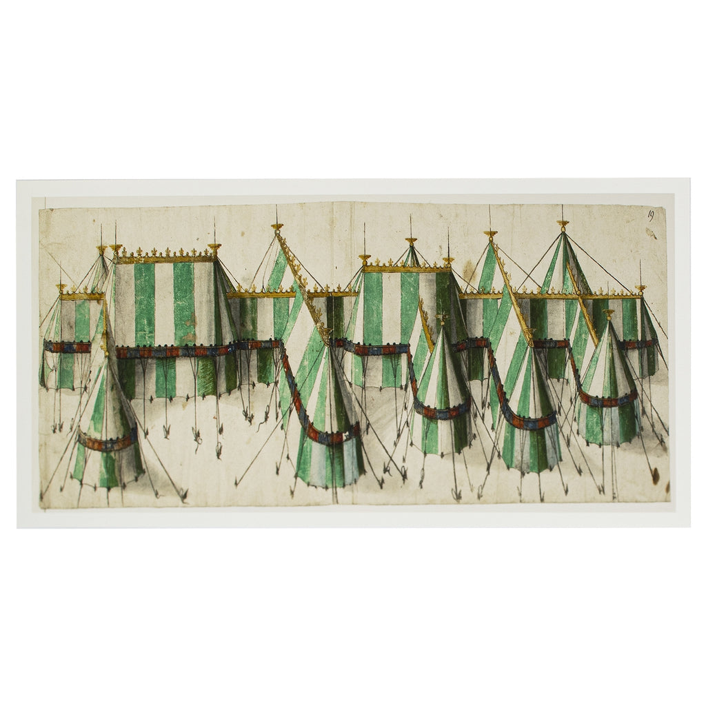 Design for a royal pavilion in the Tudor colours of white and green.