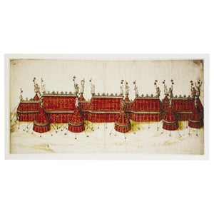 Design for a royal pavilion in crimson and gold.