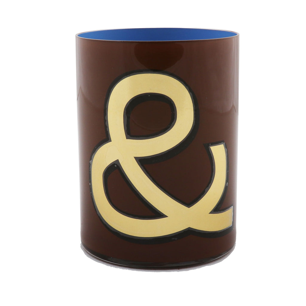 Alphabet Brush Pot - & BROWN/PERIWINKLE