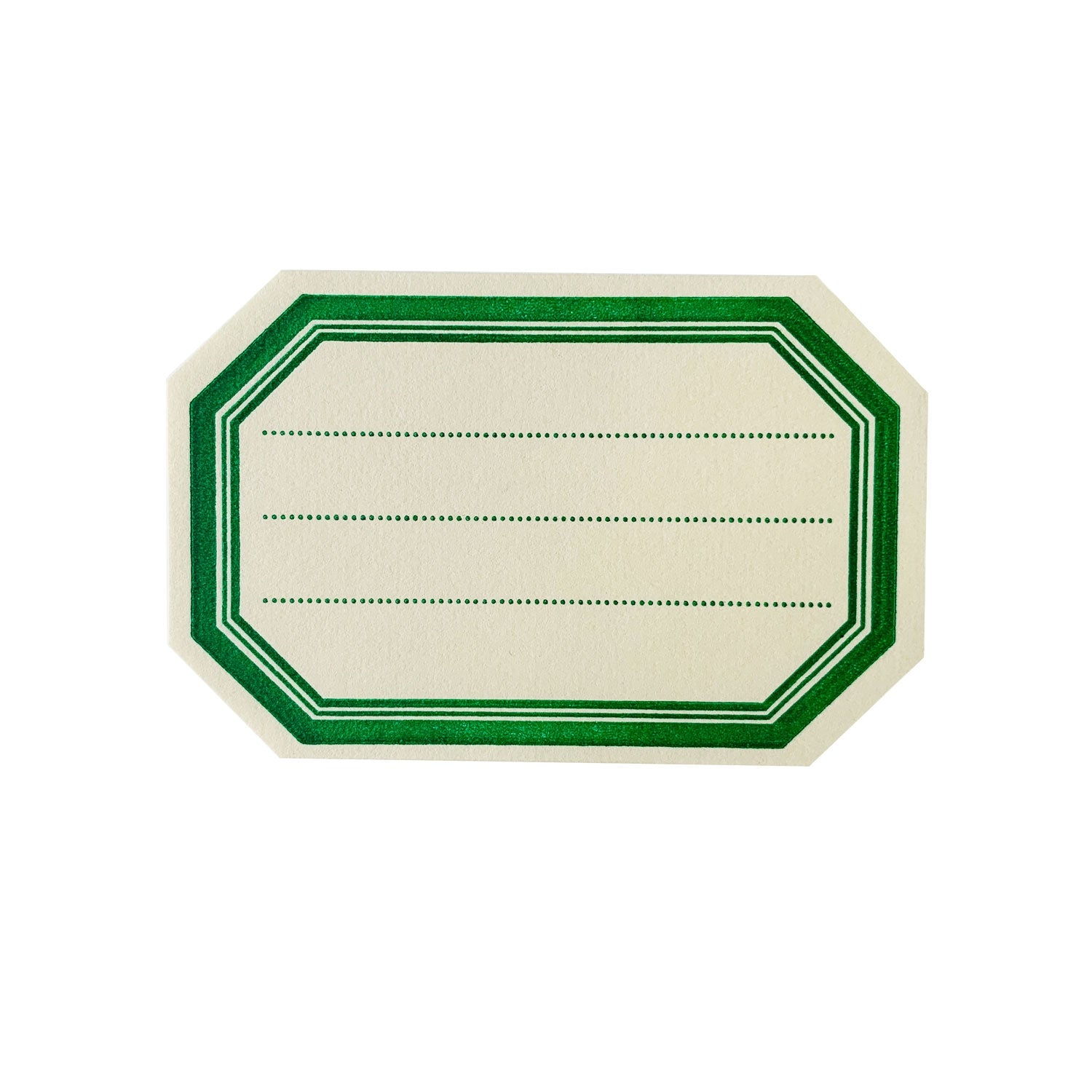 Green Border Octagonal  Letterpress Bookplates - Set of 8