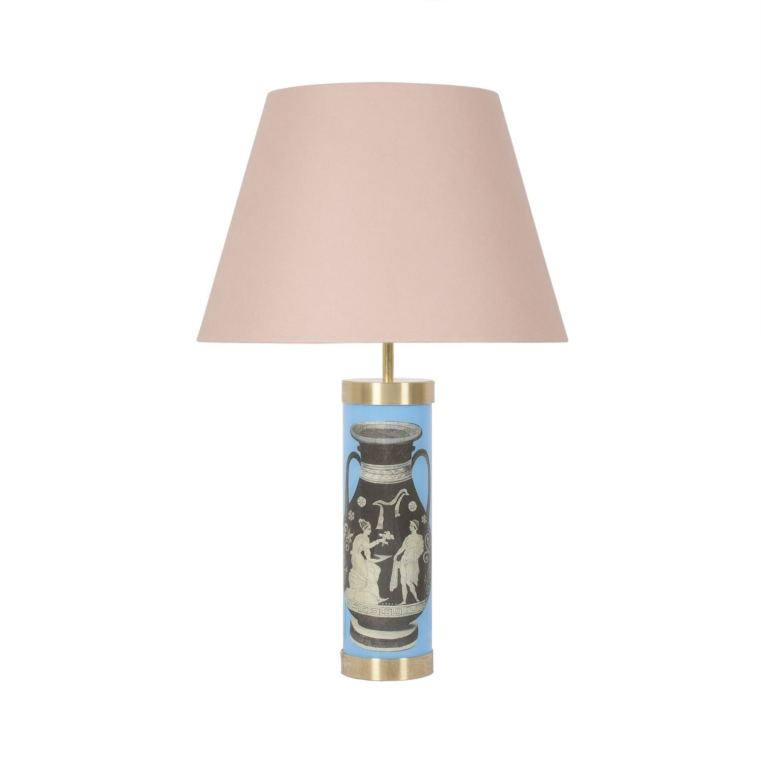 Glass & Brass Lamp - Urn Blue