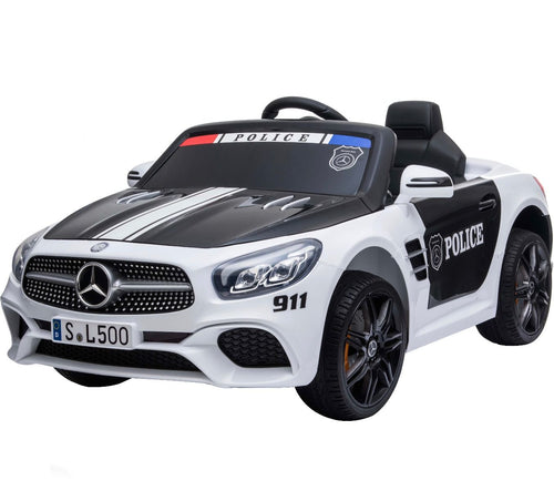 Licensed Mercedes-Benz SL500 12V Ride On Police Car - White