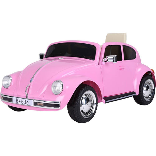 Licensed Retro Style VW Beetle Battery Operated 12V Ride On Car - Pink