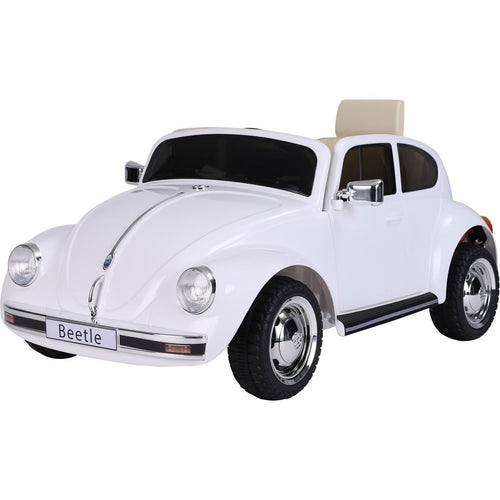 Licensed Retro Style VW Beetle Battery Operated 12V Ride On Car - White