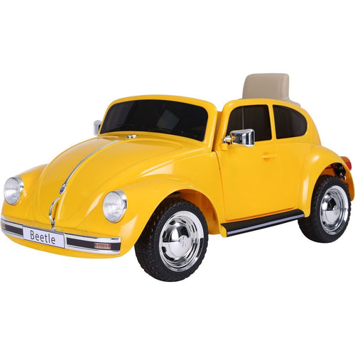 Licensed Retro Style VW Beetle Battery Operated 12V Ride On Car - Yellow