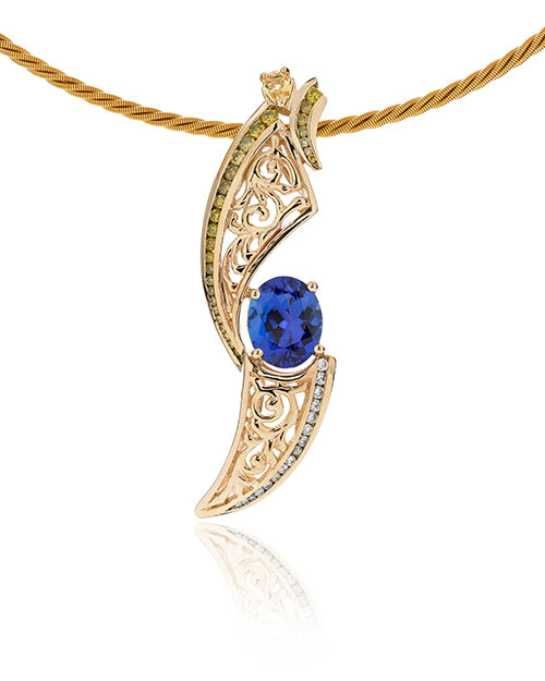 Natalie Pendant in 14K gold with tanzanite, white diamonds and yellow diamonds.  Chain not included.