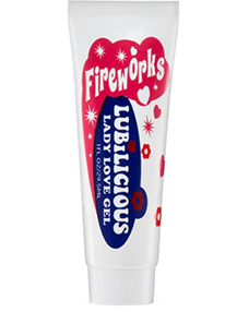 front of Lubilicious tube of Fireworks - arousal gel for clitoral stimulation, main ingredient peppermint for tingling sensation, water based gel for increased climaxes