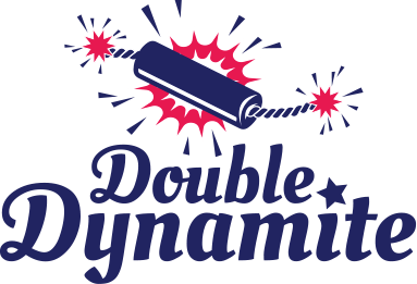 Lubilicious logo for the Double Dynamite double sided vibrator for solo play or partner play