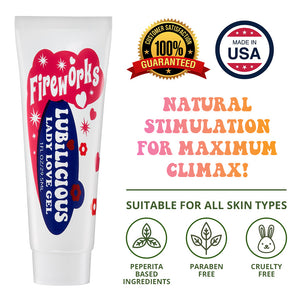 1 oz tube of Lubilicious Fireworks Lady Love Gel natural stimulation for maximum climax with peppermint and paraben free and cruelty free badge and suitable for all skin types and made in the USA and 100% satisfaction guaranteed