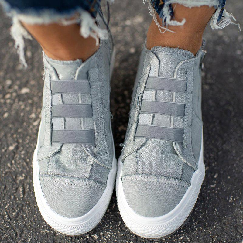 Women's Casual Elastic Laces Flat Shoes Canvas Sneakers