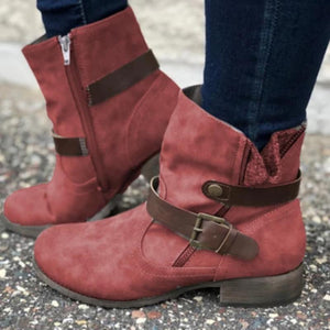 Women's Vintage Zip Leather Buckle Boots