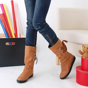 Ladies Fashion Back Straps Flat Boots